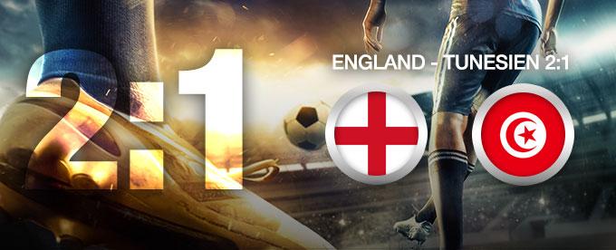 England setzt sich gegen Tunesien mit 2:1 durch