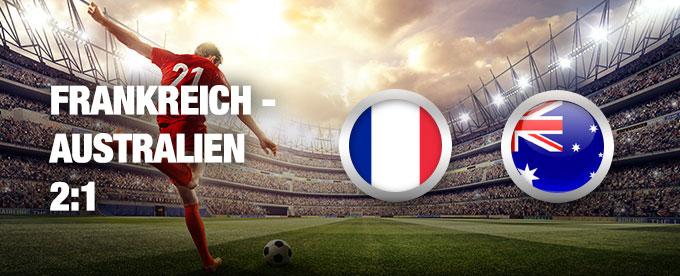 Frankreich besiegt Australien 2:1